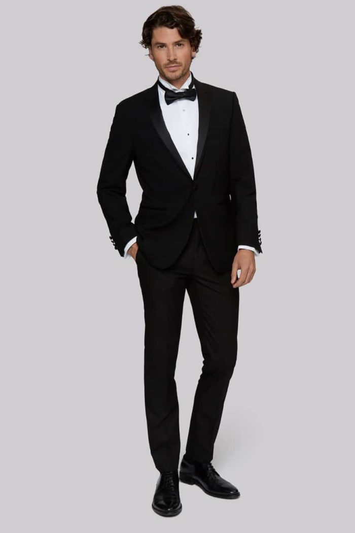 Moss 1851 Tailored Fit Black Satin Peak Lapel Tuxedo